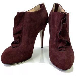 Valentino Burgundy Suede High Heel Ankle Booties